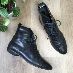 Vintage Black Leather Lace Up Ankle Boots sz 8.5